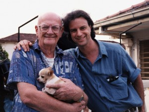 In Sri Lanka with the late sci-fi grandmaster Arthur C. Clarke and his beloved chihuahua, Pepsi.